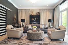 glam living room, mica wallpaper, velvet drapes, gray sofa, interior design, South Miami, concept 2 design