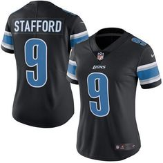 7b996af81 Nike Lions  9 Matthew Stafford Black Women s Stitched NFL Limited Rush  Jersey And Bengals Vontaze