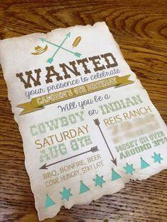 Invitation from a Rustic Cowboys & Indians Birthday Party via Kara's Party Ideas | http://KarasPartyIdeas.com (31)