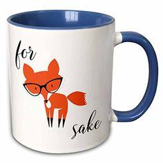 "3dRose mug_235574_6 ""For Fox Sake"" Two Tone Blue Mug, 11 oz, Blue/White"