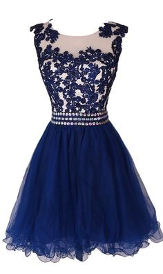 Navy Blue Lace Short Prom Dress Homecoming Dress