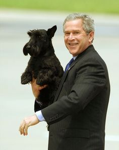 presidential dogs - George W. Bush and Barney (Scottish Terrier) More