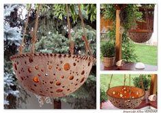 ufo Polokouli můžete použít do záhonku nebo jako lustr. Concrete Planters, Planter Pots, Air Plants, Ufo, Hanging Chair, Orchids, Decorative Bowls, Polymer Clay, Crafts