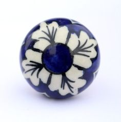 Blue & Cream Hand painted Round Decorative Ceramic Door Knobs/Dresser Drawer Pulls/Kitchen Cabinet Knob/Antique cupboard handles/Pull Handle