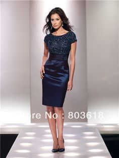 Beautiful Navy Blue 2014 Sheath Mother of the Bride Dresses Bateau Short Sleeves Knee Length Beading Bodice Taffeta Custom Made US $129.98