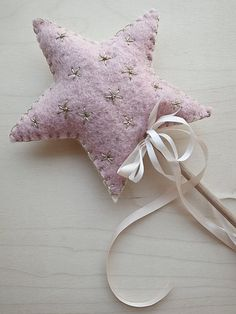 Flower Girl Basket Alternative - Felt Star Flower Girl Wand (with embroidered stars and beads)..