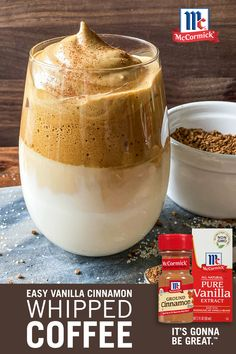 Have you seen the new Whipped Coffee trend? Our spin on the easy recipe is ready in 10 minutes, and includes a pinch of cinnamon and pure vanilla extract to make the drink a sweet treat! Yummy Drinks, Healthy Drinks, Yummy Food, Healthy Eating, Cold Drinks, Beverages, Healthy Recipes, Breakfast Recipes, Dessert Recipes