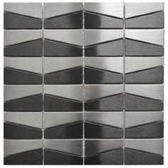 Modern Trapezoid Stainless Steel and Black Mix Tile Eden Mosaic Tile http://www.amazon.com/dp/B00JG5I93K/ref=cm_sw_r_pi_dp_.7nYub1JWPZME