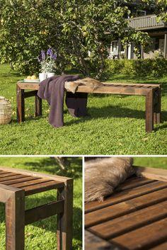 Benk til hagen laget av MULTIstolper og terrassebord i MøreRoyal®