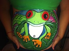 Tree frog baby bump belly painting! I was excited to stay in a rainforest type of theme with this tree frog! I painted him for a baby boy named Hayden Lee! So cute!