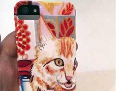 capa de celular colorida e com um gato