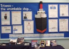 Class Titanic : St Johns Primary School in Rishworth Teaching Displays, Class Displays, School Displays, Library Displays, Classroom Displays, Titanic Art, Titanic History, Rms Titanic, Primary Teaching