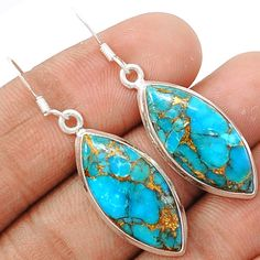 Copper Blue Arizona Turquoise 925 Sterling Silver Earrings Jewelry BCTE1237 - JJDesignerJewelry