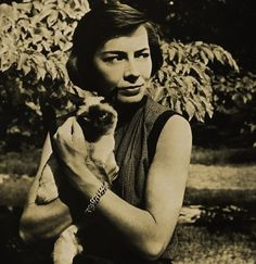 Patricia Highsmith, 1921-1995, wrote widely-acclaimed psychological thrillers, including Strangers On A Train, famously adapted by Alfred Hitchcock in 1951, and The Talented Mr. Ripley. The protagonist/serial murderer in the latter, Tom Ripley, was featured in four more novels by Highsmith, known as the 'Ripliad.' Highsmith was an animal lover who kept pets of both cats and hundreds of pet snails.