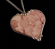 Antique mulberry floral toile transferware broken china jewelry heart pendant necklace