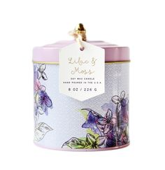 Lilac PaddyWax Candle in a reusable floral tin....perfect for #MothersDay.