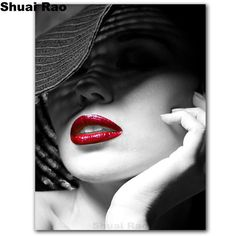 5d diy diamond embroidery sale Sexy red Lips hat beauty diamond painting full square round drill mosaic art girl lady pattern,