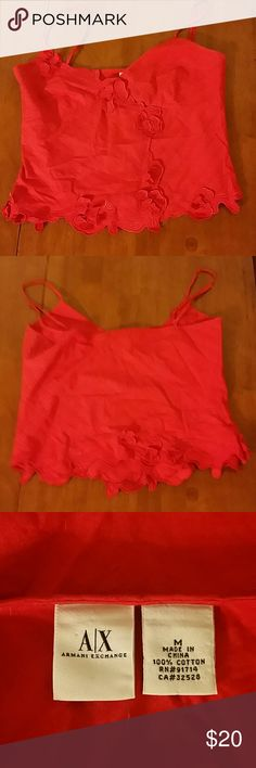 Armani Exchange tank top Red tank top with floral design. Worn but in good condition. 100% cotton Armani Exchange Tops Tank Tops