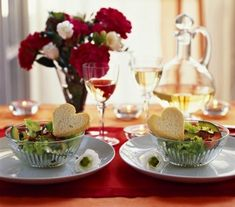 salad with heart breads