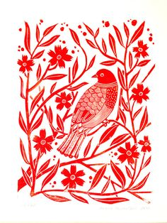 Lino Print Red bird with flowers