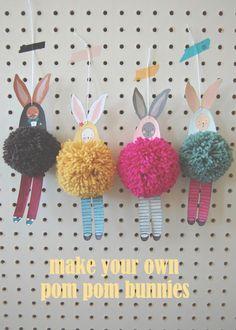 DIY pom pom bunnies, easter craft,