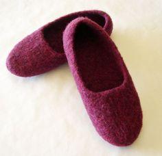 Felt Slippers Burgundy Size 7 by yarnhut on Etsy, $45.00