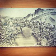 #mostarköprüsü #bosna #karakalem