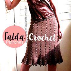Falda tejida con ganchillo con moldes y patrones