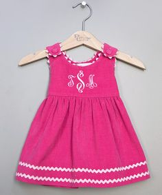 Another great find on #zulily! Hot Pink Corduroy Monogram Jumper - Infant, Toddler & Girls #zulilyfinds