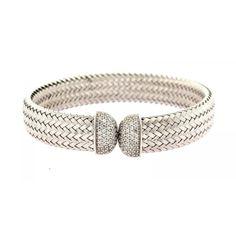 "Charles Garnier /""Daniela/"" Sterling Silver 4mm Woven CZ Bar Cuff Bracelet"