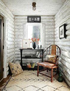 painted log walls -