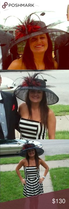 Kentucky Derby Hat Black & Red  Made by the famous Dee's of Louisville, KY! Stunning black Derby hat with black & red feathers. Brim is 18 inches, crown is 7.5 inches. Dress also available. Dee's Accessories Hats
