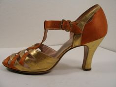 Orange silk and gold leather evening shoes