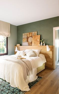 Master bedroom – green stone neatural walls with vinyl paper over a headwall bedrooms Green Apartment Master Bedroom, Small Master Bedroom, Master Bedroom Design, Home Decor Bedroom, Bedroom Designs, Bedroom Ideas, Big Bedrooms, Bedroom Green, Suites