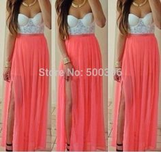 Pink Patchwork White Bandeau V-neck Sleeveless Maxi Dress Sexy Lace Dress, Lace Dress With Sleeves, Chiffon Dress, Sexy Dresses, Cute Dresses, Prom Dresses, Lace Chiffon, Pink Dress, Evening Dresses