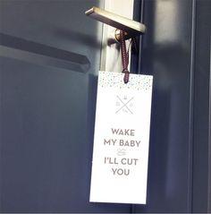 Printable don't wake the baby door hangers