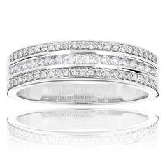 Diamond Wedding Bands 14K Gold Designer Diamond Ring 0.59ct