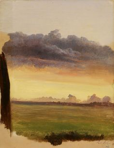 Landscape, Study of Clouds,  ca 1840, Xavier De Cock. Belgian (1818 - 1896) - Oil on paper laid down on cardboard -