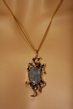 14K Gold and Fabulous Original Opal Pendant on a 14K by peteconder