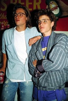 "vintagesalt: ""Brad Pitt and Corey Haim photographed by Tammie Arroyo, 1988 """