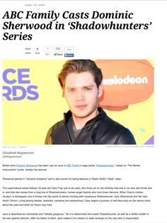 Guess we have our Jace for our Shadowhunters TV-series which will air on ABC Family-Maggy