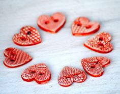 Red Heart Buttons The queen of Hearts handmade ceramic Lace buttons one pair red love hearts via Etsy