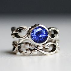 Blue sapphire engagement ring set, sapphire bridal set, lab created sapphire ring, saphire engagement ring, custom made to order - Wrought