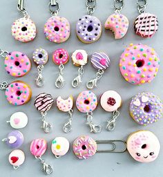 #donut #doughnuts #sweet #cuteness #cute #pink #purple #sprinkles #polymerclay #charm #polymerclaycharms #etsy #handmade #kawaii #SweetTheSmallStuff Polymer Clay Kawaii, Fimo Clay, Polymer Clay Charms, Polymer Clay Art, Polymer Clay Jewelry, Polymer Clay Miniatures, Polymer Clay Creations, Clay Projects, Clay Crafts