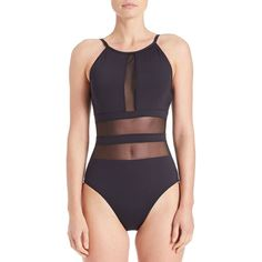 La Blanca Mesh Cutout One-Piece Swimsuit ($65) ❤ liked on Polyvore featuring swimwear, one-piece swimsuits, black, la blanca swimsuit, cut out swimsuit, one piece cutout swimsuit, j.crew bathing suits and mesh one piece bathing suits