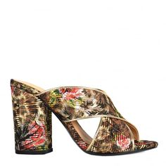 LOLABIS Heeled Sandals Leopard   Floral Tapestry Print 73f6653bb