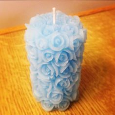 Blue rose mini pillar candle!