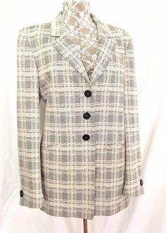 Zanella Gray & Beige Plaid Jacket/Blazer - Size 12 - EUC #Zanella #BasicJacket