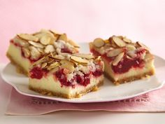 Award-winning almond streusel-cherry cheesecake bars. Has hundreds of high ratings.