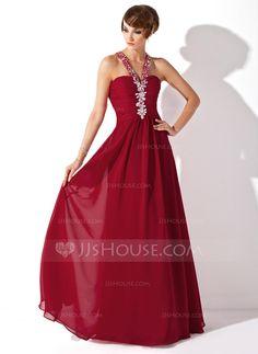 A-Line/Princess Halter Floor-Length Chiffon Prom Dress With Ruffle Beading (018005359)